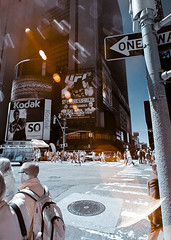 Times Square Infrared (Excaliber2013) Tags: street new york blackandwhite color square ir canoneos20d tokina flare infrared times 28 false falsecolor 1116 lifepixel 715nm