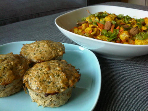 Chicken muffins and roasted cauliflower salad