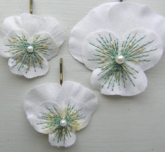 Wedding Pansies (Wychbury Designs) Tags: uk wedding white flower green hair handmade clips fabric pearl etsy bridal pansies viola occasion embroidered beaded bobbypins folksy wychbury bigbluebed