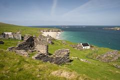 Blasket Islands - The ghost village (sara zollino) Tags: ocean blue ireland sea sky irish west green beach nature seaside ruins dingle kerry huts fields celtic blaskets gaelic ghostvillage blasketislands