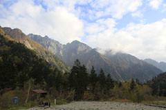 槍平小屋から見た穂高岳