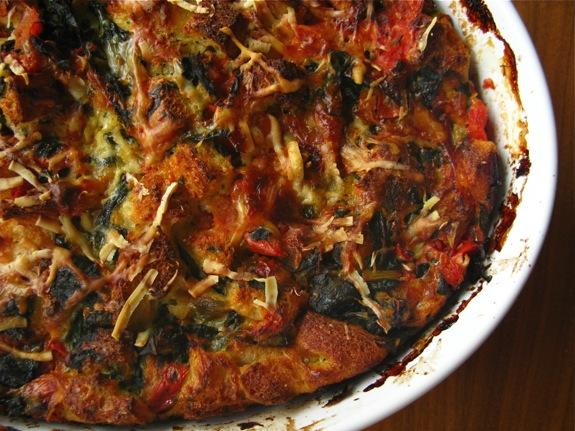 swiss chard tomato spinach asiago strata 007
