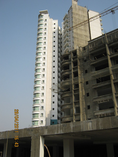 Under construction A Tower and Balconies of B Towers in Sangria Towers at Megapolis Hinjewadi Phase 3, Pune