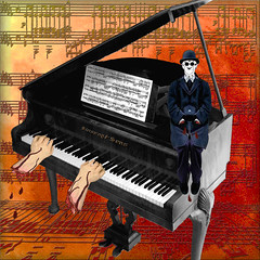 A PIANO SOLO  {with Hidden Ethyl's} (Cheyberpunk!) Tags: blue 2 white man black clock strange face make dark march weird interesting blood hands gothic piano surreal grand it beethoven odd musical funeral oranges reds challenge comical steinway gruesome severed 2011 lefthandpath