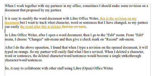 revised and deleted libre office writer