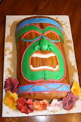 Tiki Cake (Designer_Cakes) Tags: wood flowers cake hibiscus luau tiki fondant gumpaste
