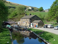 Tunnel End Cottages (jrw080578) Tags: trees buildings reflections boats canal yorkshire tunnel hills narrowboats huddersfieldnarrowcanal