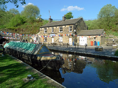 Tunnel End Cottages (jrw080578) Tags: trees buildings reflections boats canal yorkshire tunnel narrowboats huddersfieldnarrowcanal