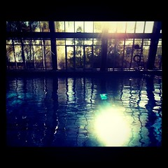 (ninanord) Tags: blue reflection window water glass pool square squareformat ladder somethingblueinmylife iphoneography instagramapp xproii uploaded:by=instagram norgesidrettshgskole