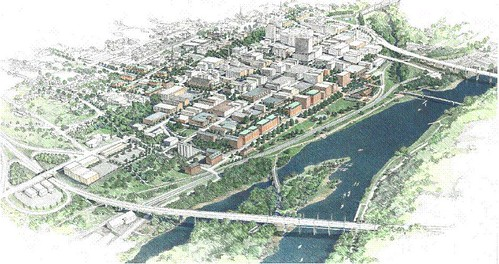downtown Lynchburg as envisioned in the 2000 master plan (by: City of Lynchburg)
