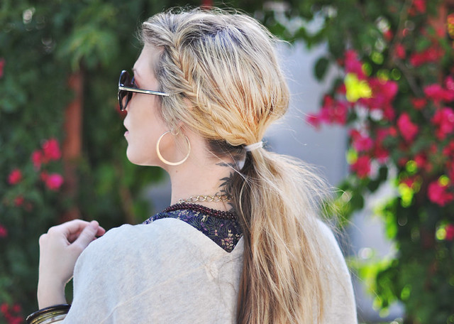 messy side fishtails  in  low ponytail