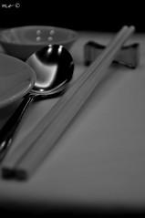 Chow time (martin.escober) Tags: bw white black sticks eating spoon chow chopsticks chop