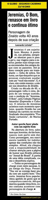 """""""Jeremias, O Bom, renasce em livro e continua ótimo"""" - O Globo - 22/10/2003"""