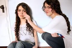 Digital Twin (Lauren Emme) Tags: family girls playing girl sisters canon twins sister twin siblings indoors curly inside lipstick braids brunette curlyhair playful brunettes braid brownhair braidedhair brunettehair