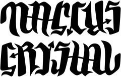 """Marcus"" & ""Crystal"" Ambigram"