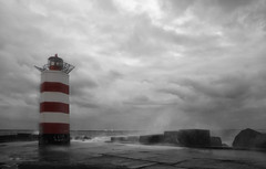 Weather the Storm (Paul Beentjes) Tags: lighthouse storm netherlands pier wind nederland noordzee northsea vuurtoren wijkaanzee mygearandme mygearandmepremium