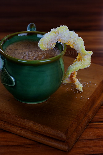 Hot Chocolate and Homemade Candied Orange Peel