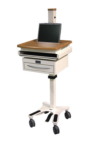 LC3000 mobile cart with drawer single laptop
