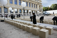 Preparations for the Givenchy collection showing in the Jardin des Plantes, Paris (Monceau) Tags: jardindesplantes givenchy parisfashionweek fashionshow runway outdoor venue preparations
