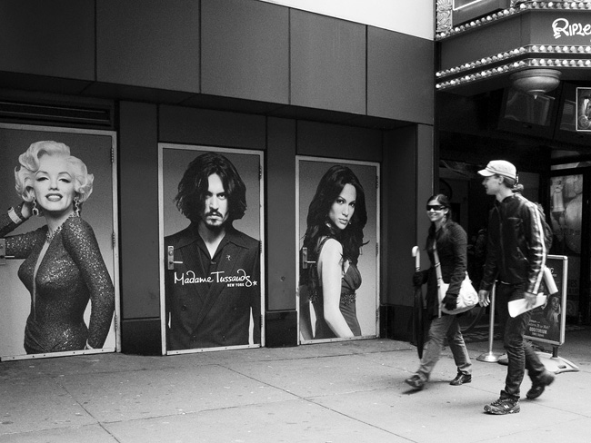 Outside Madame Tussauds, NYC