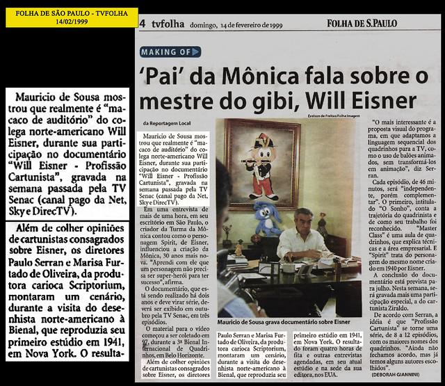 """""""Pai da Mônica fala sobre o mestre do gibi"""" - Folha de São Paulo - 14/02/1999"""