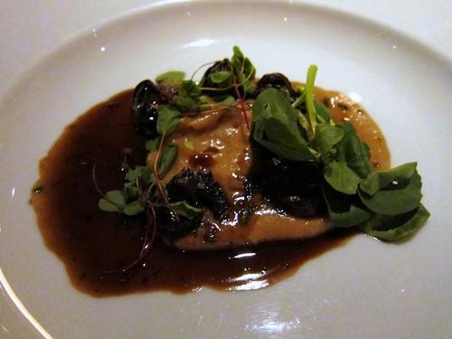 Chilli garlic snails, chestnut & nutmeg purée, red veined sorrel cress
