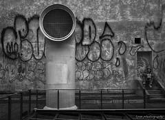Exhausted - Pompidou Centre, Paris (lyon photography) Tags: street urban man paris france monochrome fence vent graffiti solar graphic homeless grain gritty beggar panels railing iconic tramp funnel pompidoucentre jameslyon lyonphotographyoxford