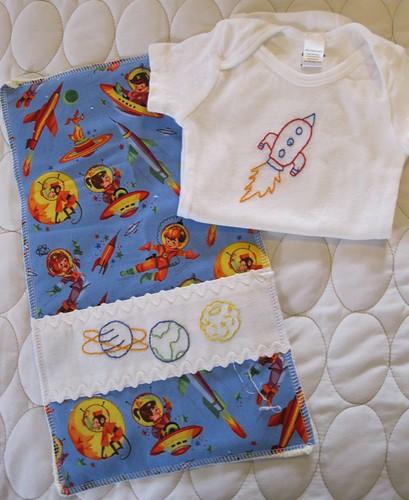 blast off onesie/burp cloth set