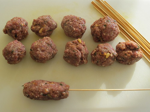 Making the lamb kebabs