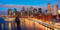 New York City (mudpig) Tags: nyc newyorkcity longexposure bridge newyork skyline brooklyn night sunrise geotagged dawn highway cityscape traffic cityhall gehry southstreetseaport brooklynbridge eastriver gothamist fdrdrive hdr fdr pier17 lighttrail mudpig traffictrail stevekelley beekmantower beekmanplaza