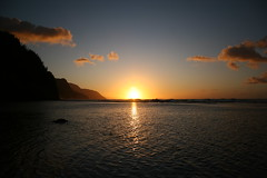 Hawaiian Sunset (Oma Darling Photography) Tags: ocean park sunset 20d beach marilyn clouds canon hawaii coast state pacific kauai napali haena hassler mygearandme omadarlingphotography
