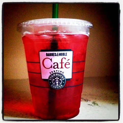 enjoying my first ever passion tea!