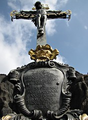 The Crucifix and Calvary Statue on Charles Bridge (h0n3yb33z) Tags: prague april czechrepublic charlesbridge chantelpederson