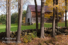 Country Barn in New England (jim_david) Tags: new old autumn trees england brown building green fall nature field grass leaves rock stone wall pine farmhouse barn rural forest fence landscape countryside wooden leaf quiet seasons antique farm country farming stock shed newhampshire charm pasture americana environment serene hay charming