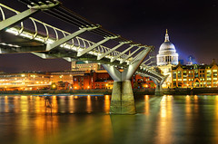 (CostaDinos) Tags: old city uk bridge sky london church st thames modern night river stars flow lights town long exposure cathedral pauls millennium millenniumbridge stpaulscathedral