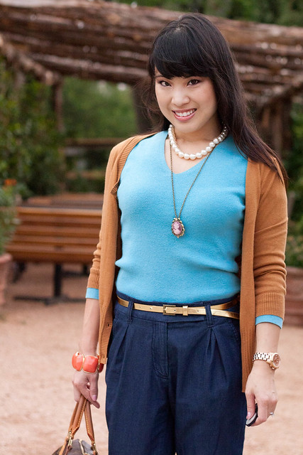gap ribbed waist cardigan winter ochre express turquoise v-neck forever 21 pleated pants aldo whitsey charlotte russe gold skinny belt cameo necklace pearl necklace coral bracelet