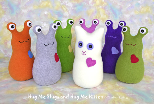 Fleece Hug Me Slugs and Fleece Hug Me Kitten by Elizabeth Ruffing