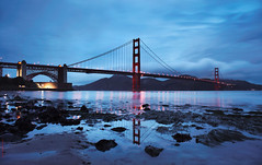 once upon a time... (louie imaging) Tags: sf california morning bridge blue light sun west reflection field fog sunrise john point landscape dawn golden bay coast interesting gate san francisco baker dynamic fort tide marin low dream first andrew structure explore area headlands production louie rise sausalito tidal crissy 8x20 flickraward