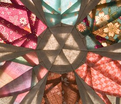 Stained Glass (PatchworkPottery) Tags: star origami quilt crane handmade patterns hexagon pottery block patchwork zakka paperpiecing