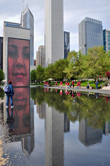 Crown Fountain Reflection Pool (Seth Oliver Photographic Art) Tags: chicago reflections illinois nikon midwest skyscrapers cityscapes milleniumpark millenniumpark theloop fountains crownfountain pinoy downtownchicago cookcounty urbanscapes prudentialbuilding secondcity chicagoist cityart circularpolarizerfilter springseason d90 wetreflections handheldshot bluecrossblueshieldbuilding cityofchicago portraitformat cityofbigshoulders sooc springinchicago moderncities landscapemode aperturef90 artsculptures setholiver1 theaquabuilding 18105mmnikkorlens 001secondexposure crownfountainreflections crownfountainreflectionpool modernartpieces