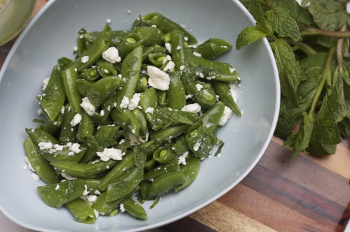 sugar snap peas with mint and feta