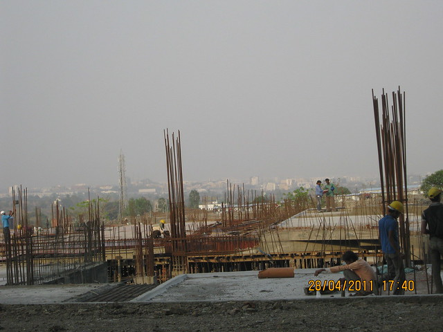 Construction of Club House & Amenities on the Podium - view from the B Tower in Sangria at Megapolis Hinjewadi Phase 3, Pune