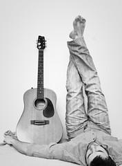 While my guitar gently... sleeps (264/365) (pinterpi) Tags: portrait bw white black self canon project eos day guitar days 365 ff pcs fekete fehr gitr 450d pinterpi