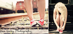 (tire swing photography) Tags: railroad feet senior vintage spring diptych shoes traintracks steps megan trains sneakers converse blonde april redshoes railroadtracks redsneakers 50mmlens redconverse