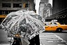 The streets of New York II (Violet Kashi) Tags: road street city bw newyork girl monochrome yellow umbrella buildings manhattan cab taxi crosswalk zebracrossing selectivecolorization