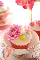 Mauve, Pink & Blue! (Little Cottage Cupcakes) Tags: birthday pink wedding flower vintage cupcakes purple anniversary peony mauve teacups afternoontea wedgwood shabbychic littlecottagecupcakes