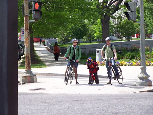 A biking family at 2nd and Massachusetts Ave. NE, Washington, DC