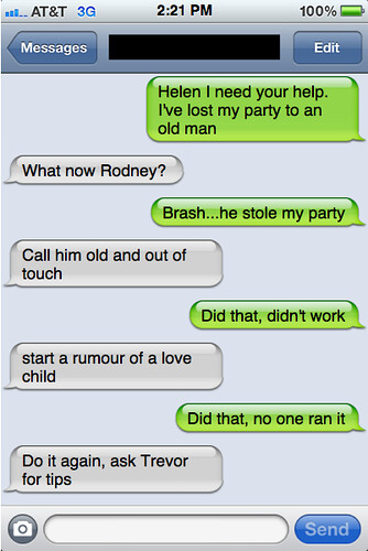 Txts from New York: Helen and Rodney chat
