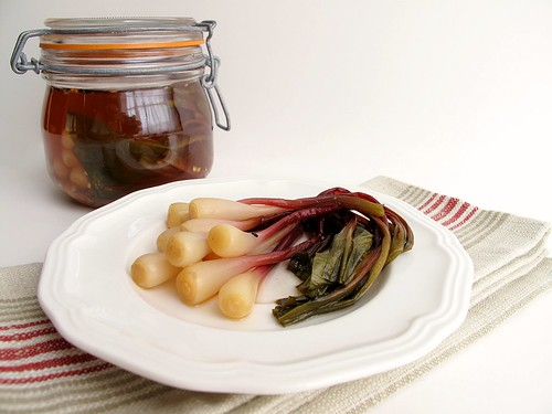 spicy pickled ramps with jar