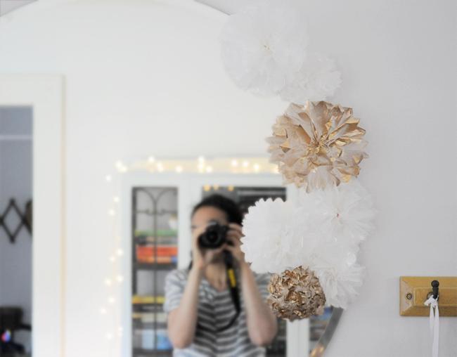 floral pom pom mirror